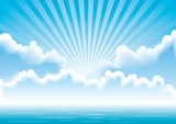 Fototapety Vector calm sea  with clouds and sun rays