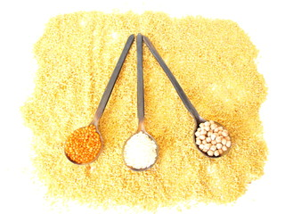 lentils, rice, chickpeas, bulgur and spoons