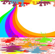 Rainbow Color Drops  - Childhold background and white ads wall