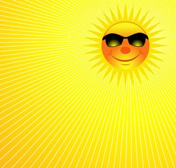 Happy Sun On Burst Background