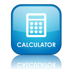 "Square ""CALCULATOR"" button with reflection (blue)"