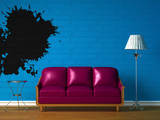 Orange couch, table and standard lamp in  black minimalist inter poster