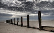 Wooden posts at the seashore in northern Wales, United Kingdom