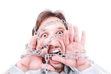 Chained screaming man
