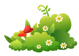 grass,flower and mushroom