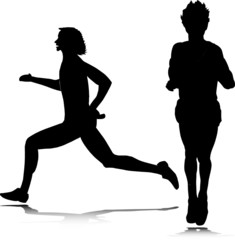 man running vector silhouettes