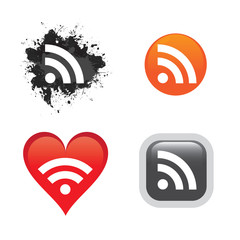 A collection of RSS feed buttons or icons for web design.