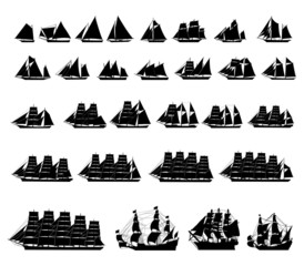 29 different types of sailboats.vector silhouette