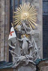 Statue on outdoor wall, Stephansdom in Vienna