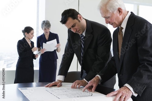 View of businesspeople in a planning meeting.