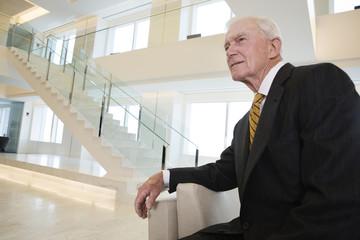 Portrait of pensive senior businessman in his lobby.