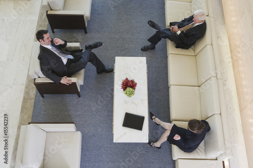 Lobby business meeting with senior manager.
