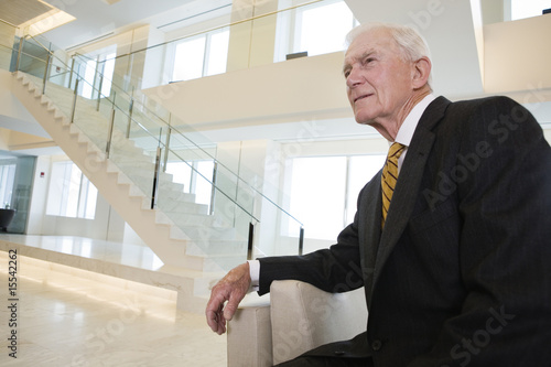 Portrait of pensive senior businessman in his lobby.