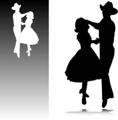 cowboy dancing vector silhouettes
