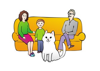 family on sofa with cat