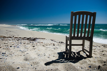 Lone Chair one beach clear sunny day