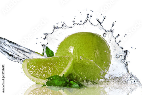 Water splash on lime with mint isolated on white - 15554490