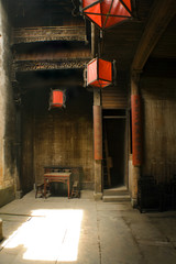 red lanterns and chiense courtard houses