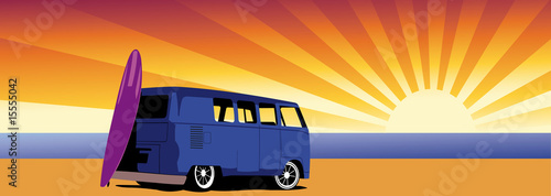classic van and summer sun background - vector