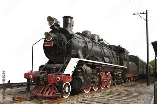 stary pociąg parowy na tle pojedyncze