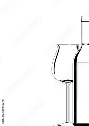 Bordeauxglas mit Flasche