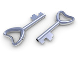 Steel key on a white background