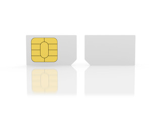 Closeup of a two sim card for cell phones.