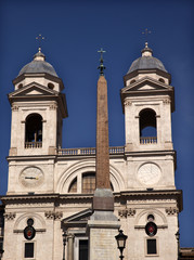 Trinita dei Monti French Church Top of Spanish Steps Obelisk Rom