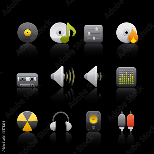 Icon Set in Black - Audio