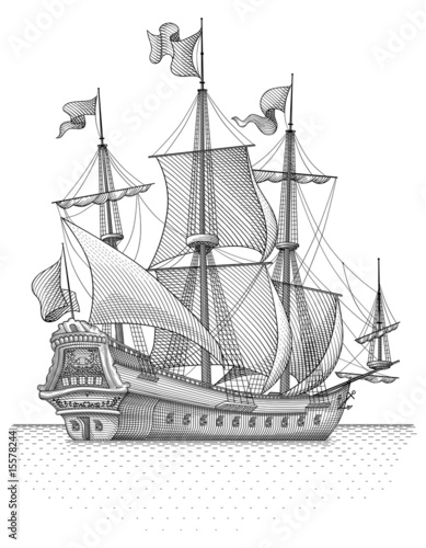 Retro sail ship vector - 15578244