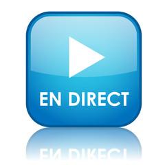 """Bouton carré """"EN DIRECT"""" avec reflet (bleu)"""