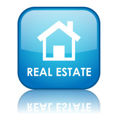 "Square ""REAL ESTATE"" button with reflection (blue)"
