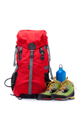 colorful new hiking equipment