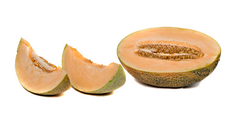 Melon section and segments  isolated on white background