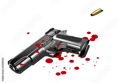 pistole mit blutflecken illustration stockfotos und lizenzfreie vektoren auf. Black Bedroom Furniture Sets. Home Design Ideas