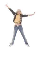 Jumping Jeans Blonde Girl