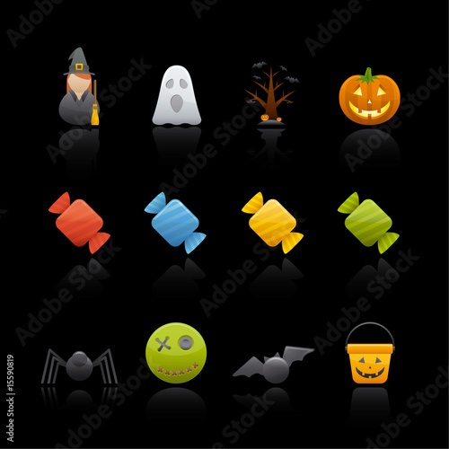 Icon Set in Black - Halloween