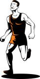 Marathon runner running to the finish poster