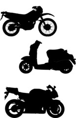 Three vector illustrations of motorcycle. Help for designers