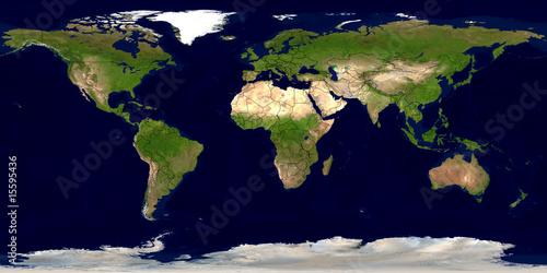 Leinwanddruck Bild Erde mit Ländergrenzen