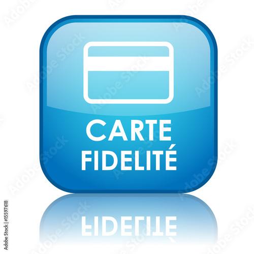 """Bouton carré """"CARTE FIDELITE"""" avec reflet (bleu)"""