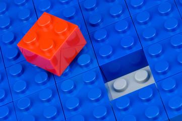 Noppenbauklötze rot und blau