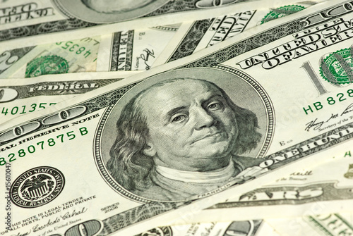 Close-up shot of $100 bill. Shallow DOF