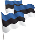 Estonia 3d flag. Vector illustration. Isolated on white. poster