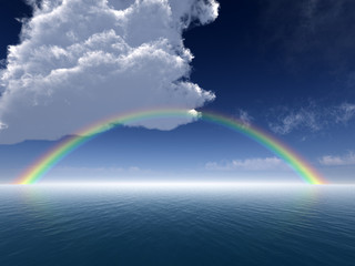 Clouds and Rainbow Over Sea -- Arial View