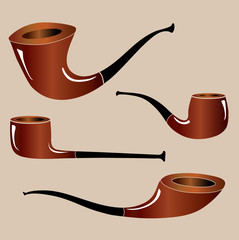 Four different shapes of smoking pipes