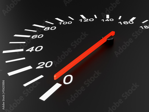 Speedometer on black background, 0 km/h