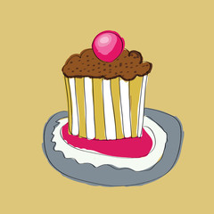 cute wedding cake with cherry vector illustration