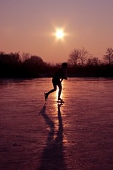 Ice skating on a cold winterday in the Netherlands
