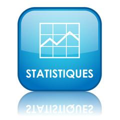 """Bouton carré """"STATISTIQUES"""" avec reflet (bleu)"""